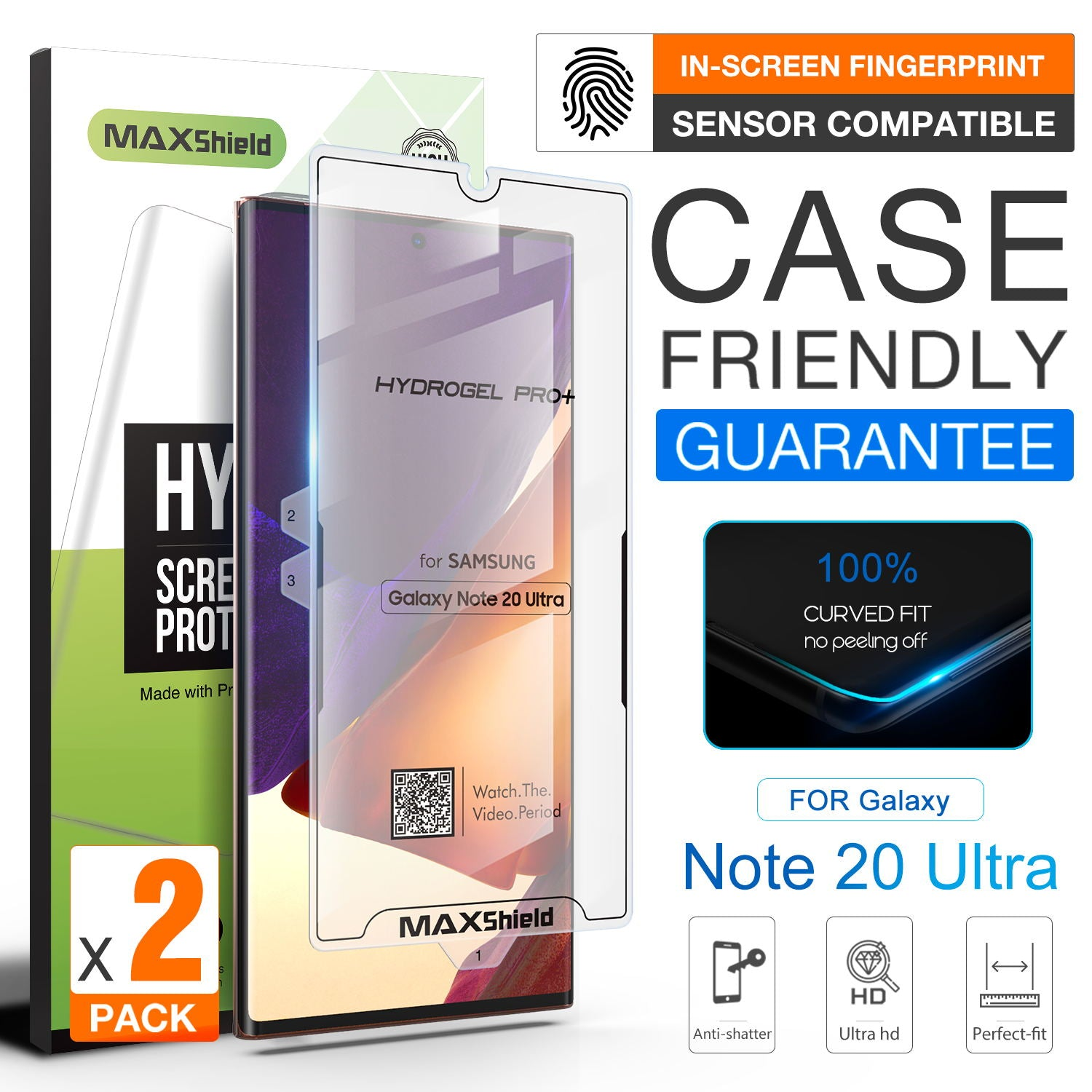 2X GALAXY NOTE 20 4G 5G MAXSHIELD Hydrogel Film Screen Protector