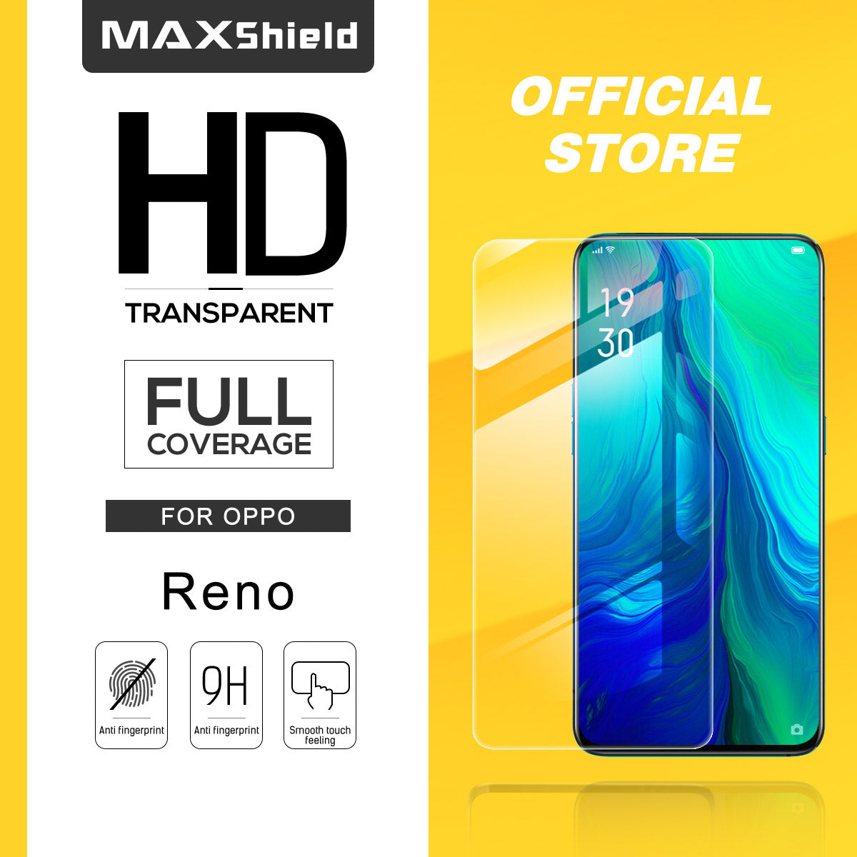 MAXSHIELD OPPO Reno 10X Zoom Full Adhesion Tempered Glass Screen Protector