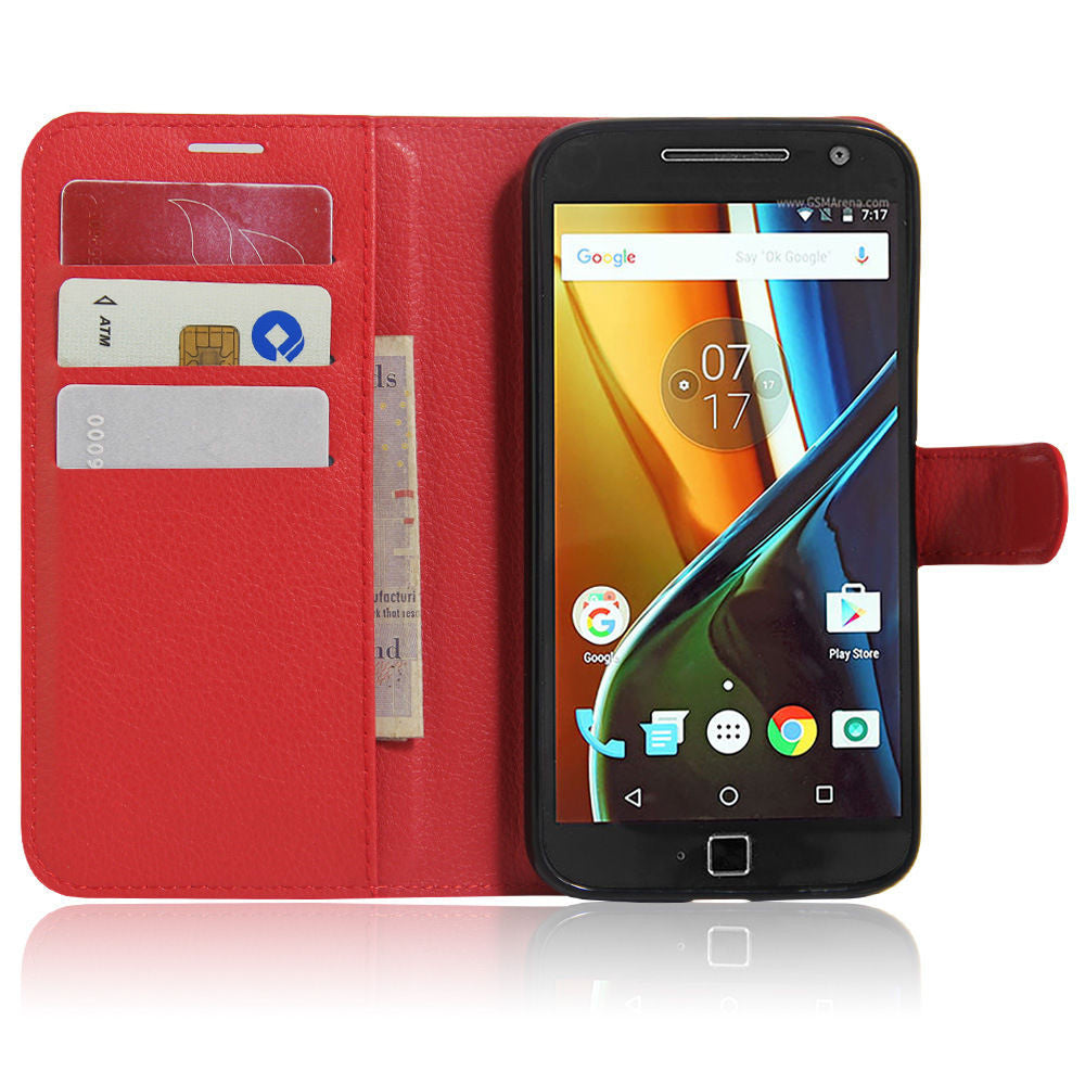 Wallet Flip Leather Case Cover for Motorola  Moto G4 Plus 2016