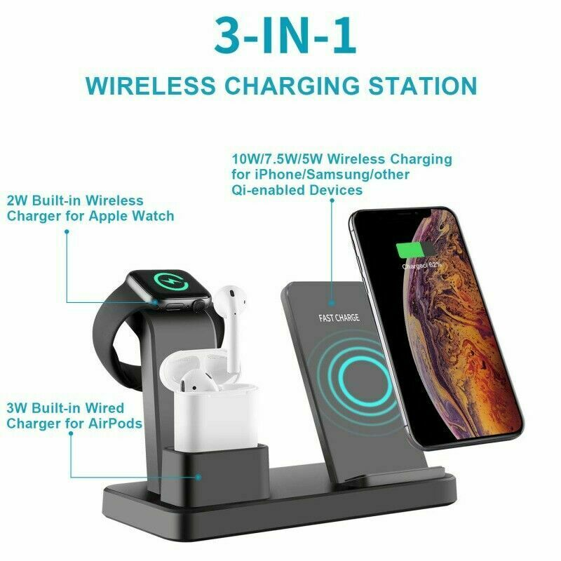 3in1 Fast Charging Qi Wireless Charger Charge to Apple iPhone iWatch headphone