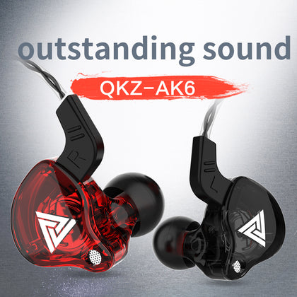 QKZ Super Bass Stereo Headset Headphone Sound Isolating Earbuds Earphones Wt Mic-Red