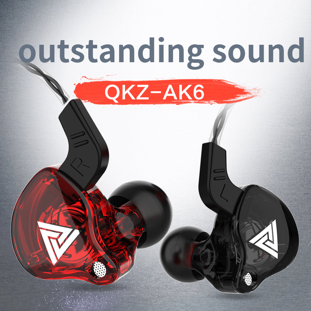 QKZ Super Bass Stereo Headset Headphone Sound Isolating Earbuds Earphones Wt Mic-Black