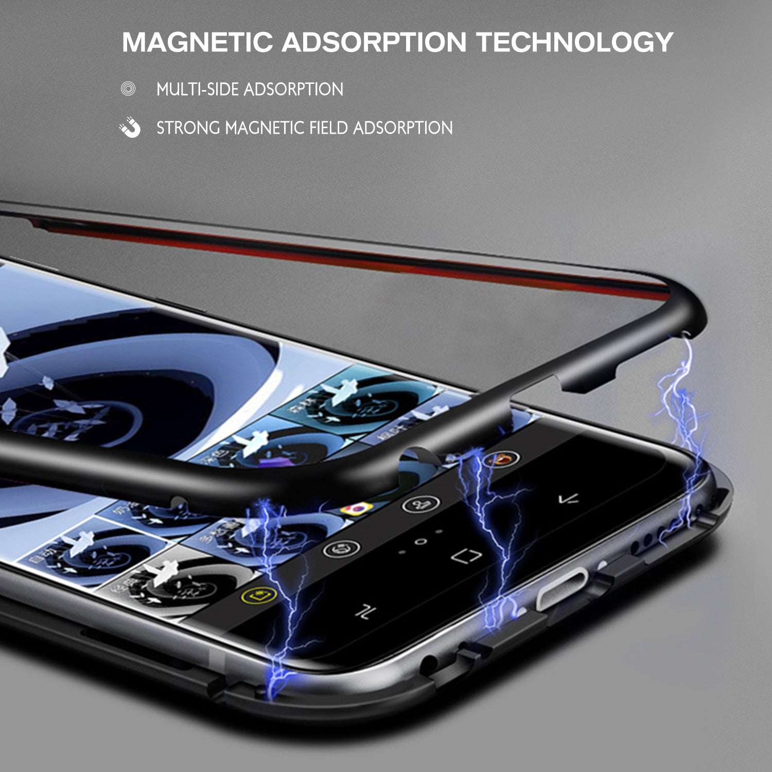 For Galaxy S10 Plus Magnetic Metal Tempered Glass Case Cover-Black, White, Red