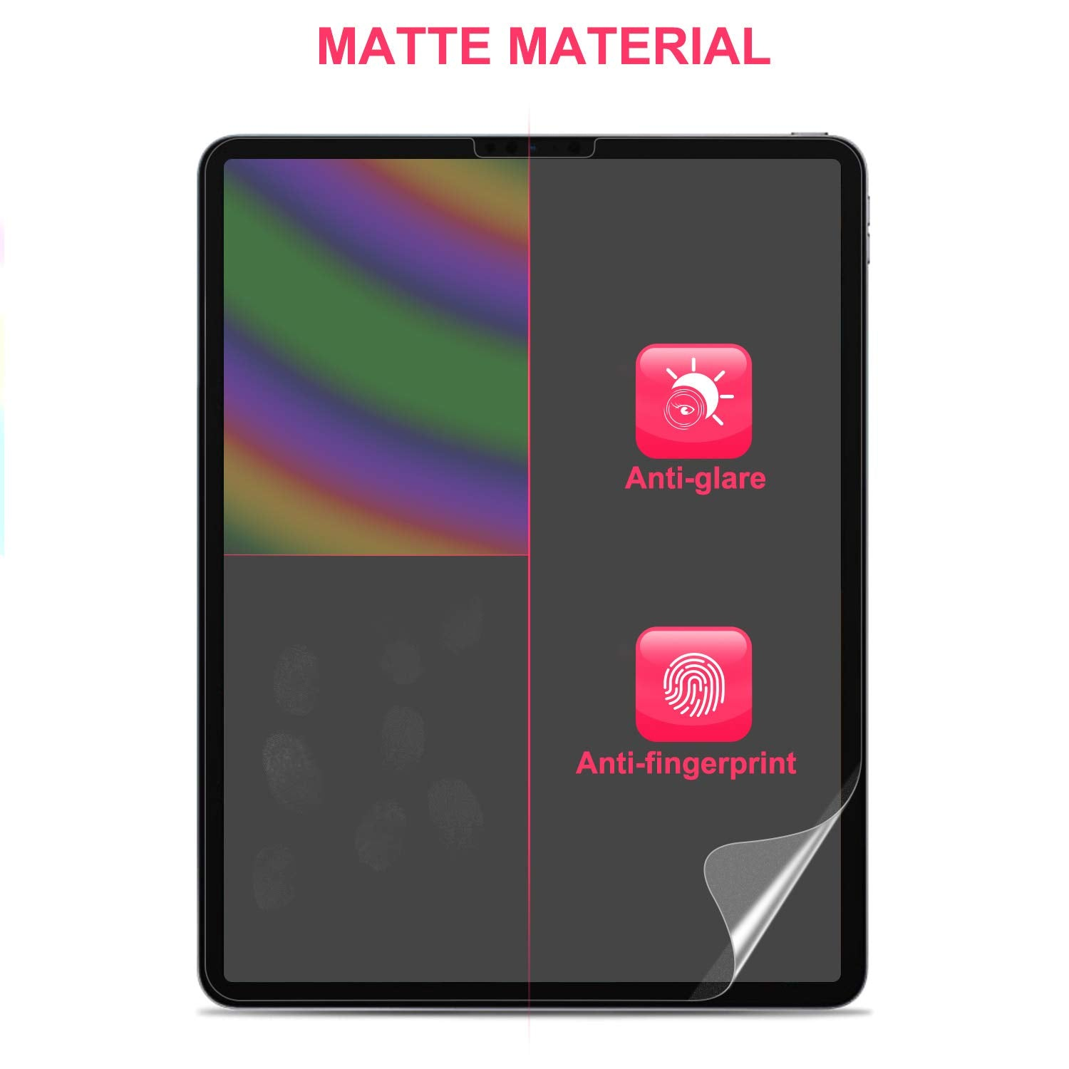 "New iPad Pro 12.9"" Screen Protector (2 Pack), SMAPP Premium PET Film [Anti-Glare] Matte Screen Protector for iPad Pro 12.9 inch 2018 Tablet Compatible [Face ID] [Apple Pencil] Function [Touch Sensitive]"