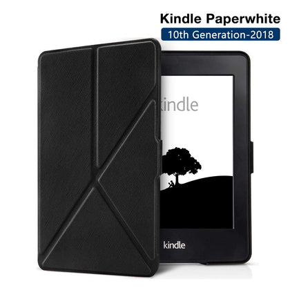 Origami Magnetic PU Leather Case Cover for Amazon Kindle Paperwhite 10th Generation-2018  - Black