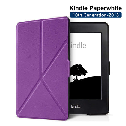 Origami Magnetic PU Leather Case Cover for Amazon Kindle Paperwhite 10th Generation-2018  - Purple