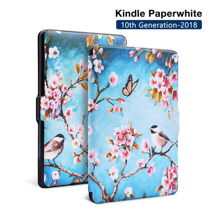 Premium Quality Colorful Painting Leather Cover for Amazon Kindle Paperwhite 10th Generation-2018 - Secret Garden