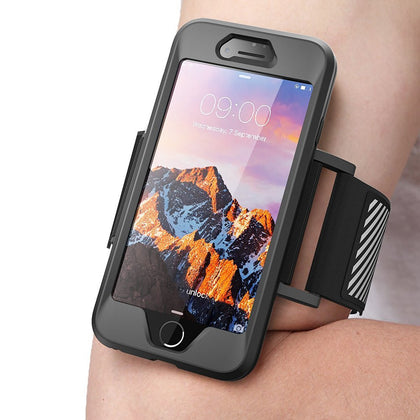 GENUINE SUPCASE ARMBAND CASE COVER, GYM SPORT RUNNING CASE For iPhone 7, 7 Plus - Black
