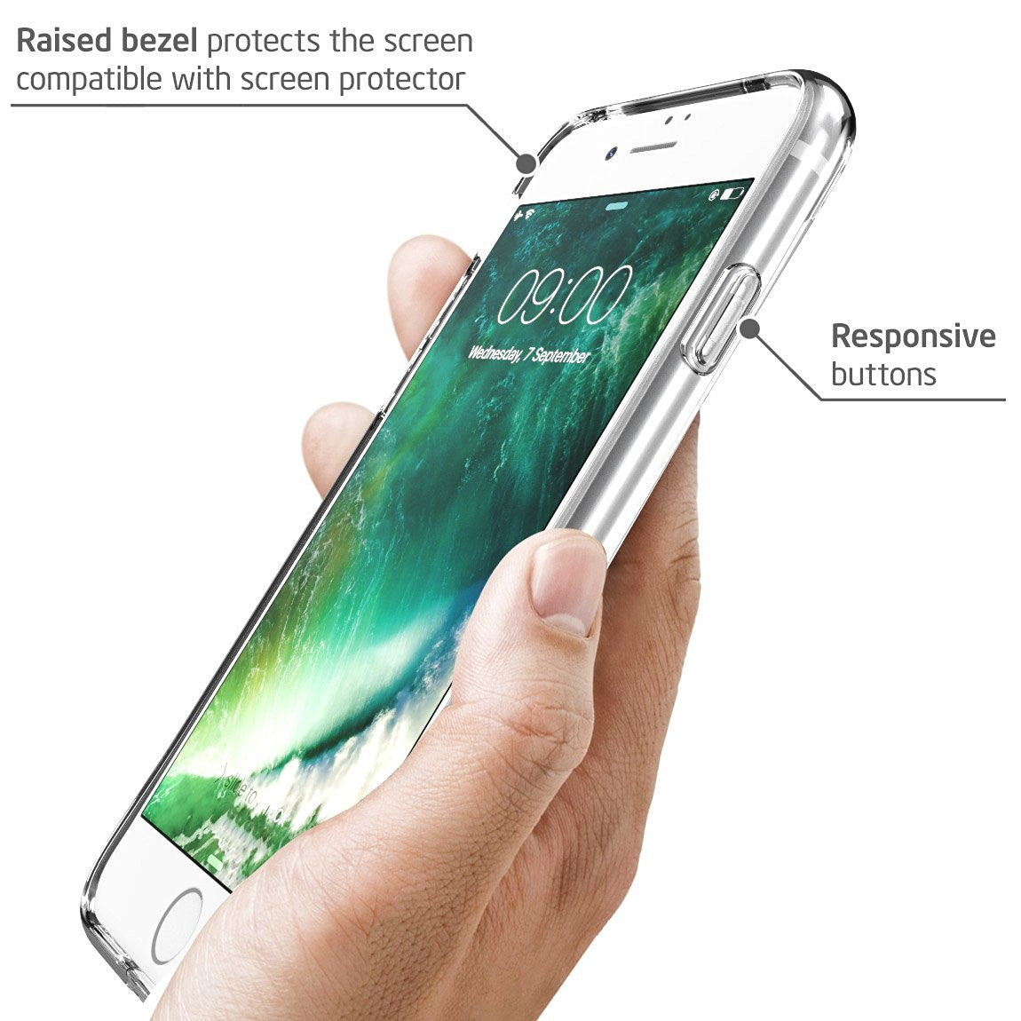 Crystal Clear Flexible TPU Hybrid Protective Bumper Case with Clear Back Panel For iPhone 8/8 Plus