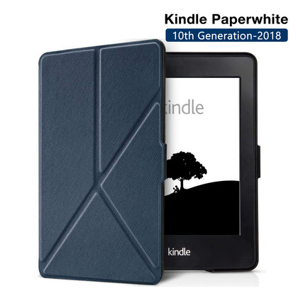 Origami Magnetic PU Leather Case Cover for Amazon Kindle Paperwhite 10th Generation-2018 - Navy Blue