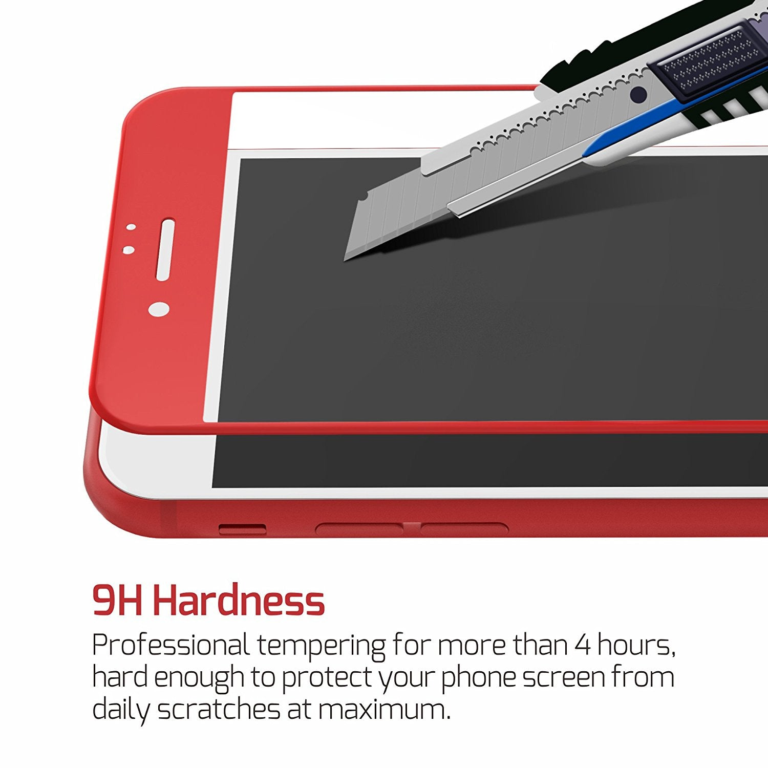 MAXSHIELD Red 3D Full Cover Tempered Glass Screen Protector for iPhone 8 Plus