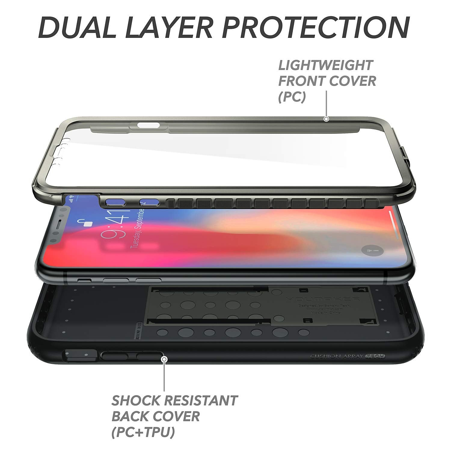 iPhone X/ Xs Kickstand Case, Genuine Yourmaker Heavy Duty Protection Cover