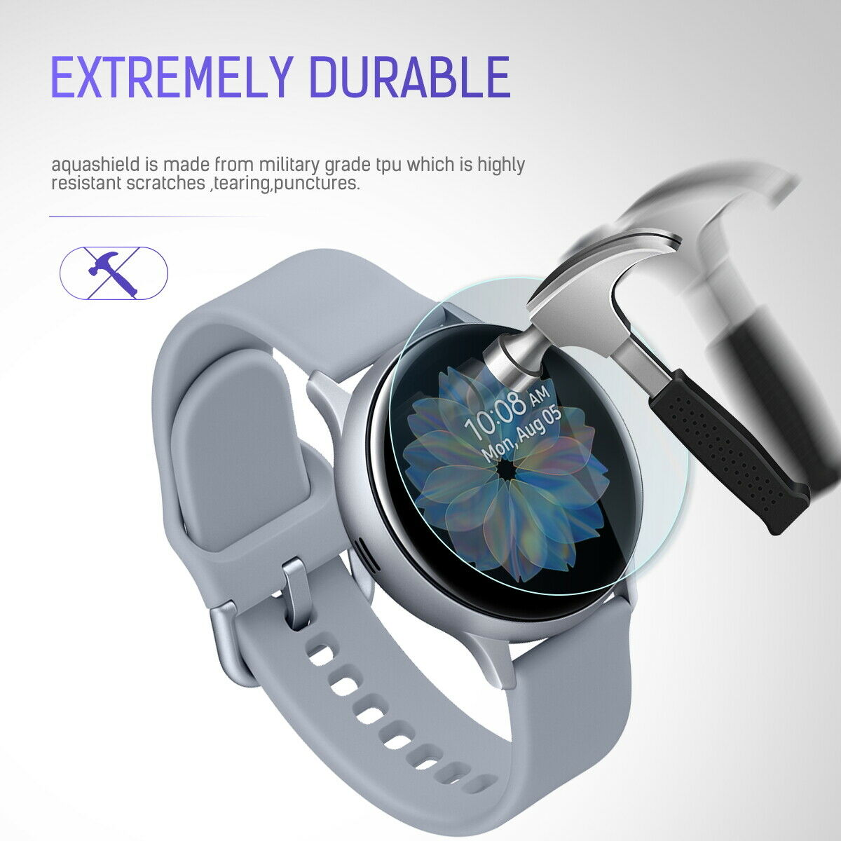 Maxsheld Samsung Galaxy Watch Active 2 44mm Full Coverage Waterproof Screen Protector