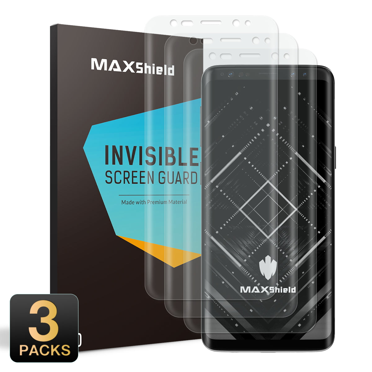MAXSHIELD [Full Coverage] SCREEN PROTECTOR FILM FOR Samsung Galaxy S9 Plus
