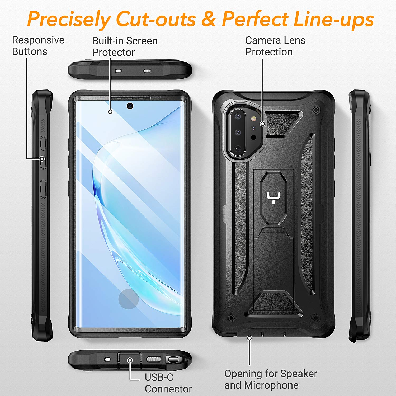 YOUMAKER Samsung Galaxy Note 10 Plus HEAVYDUTY Shockproof KickStand Case Cover