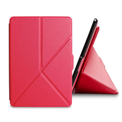 Red Origami Magnetic PU Leather Case Cover for Amazon Kindle 8th Gen 2016