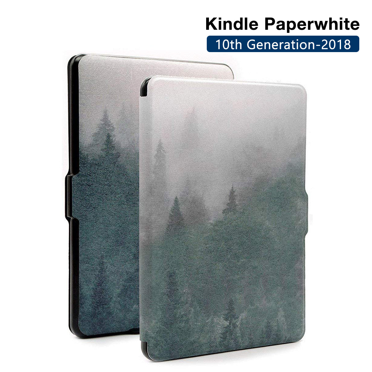 Premium Quality Colorful Painting Leather Cover for Amazon Kindle Paperwhite 10th Generation-2018  - Mist Forest