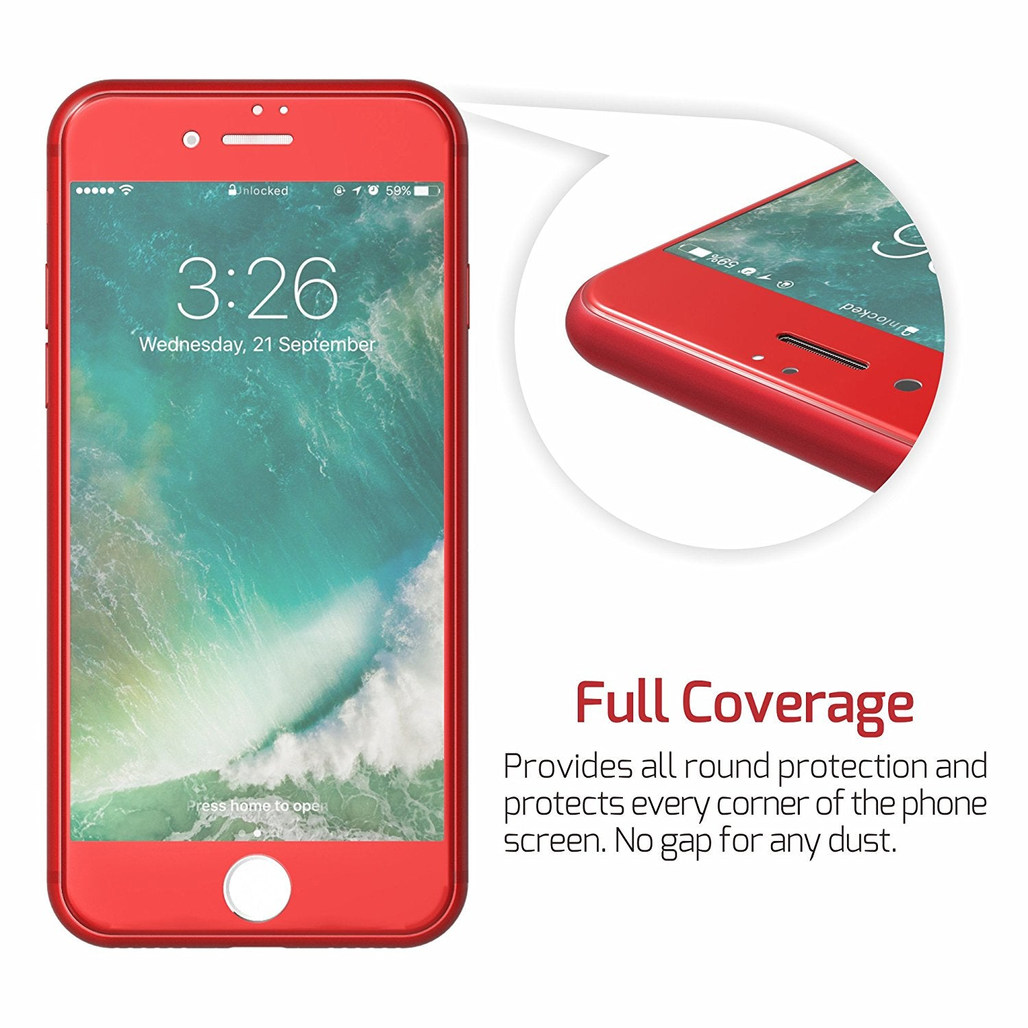 MAXSHIELD Red 3D Full Cover Tempered Glass Screen Protector for iPhone 7 Plus