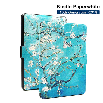 Premium Quality Colorful Painting Leather Cover for Amazon Kindle Paperwhite 10th Generation-2018 - Blossom