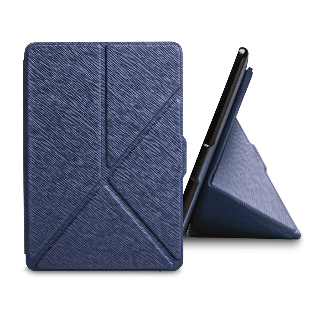 Navy Origami Magnetic PU Leather Case Cover for Amazon Kindle 8th Gen 2016