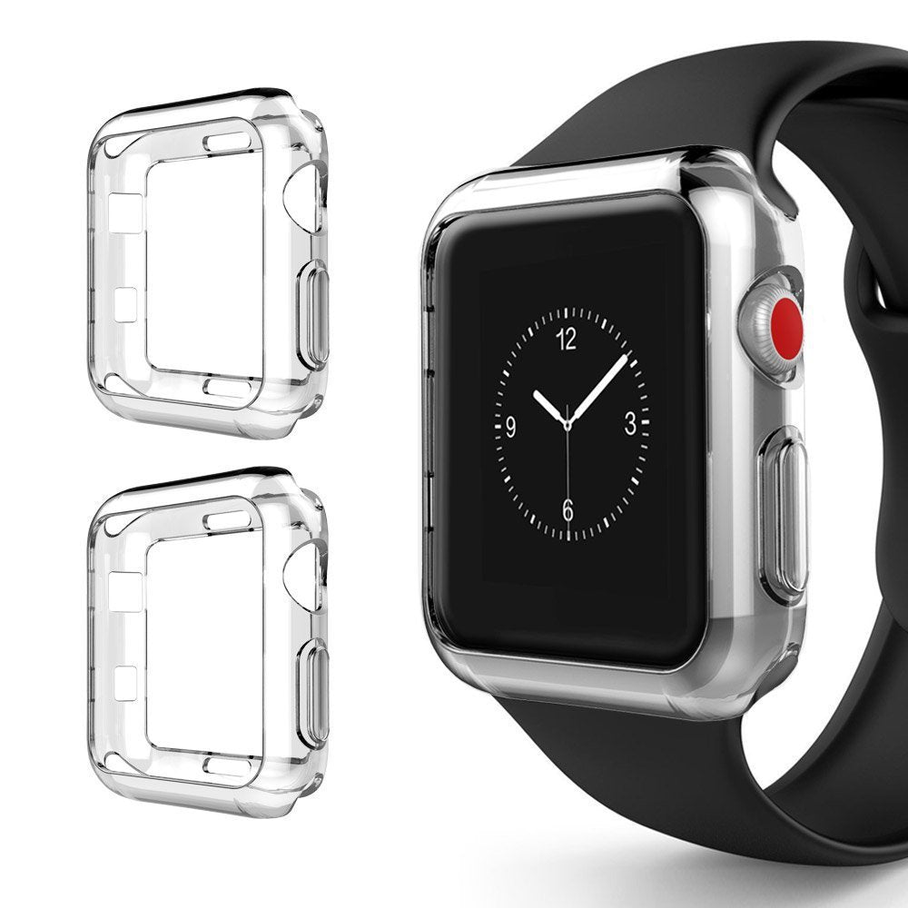 Premium Soft TPU Clear Case Cover + Screen Protector For Apple Watch Series 1/2/3