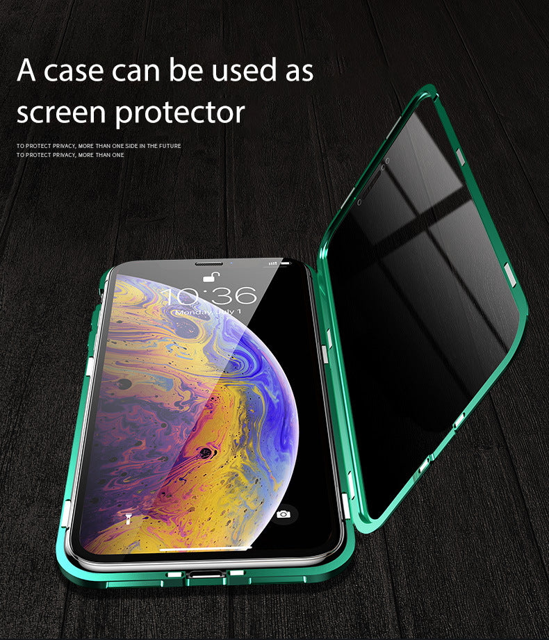 iPhone X  Case Magnetic Metal Anti Spy Tempered Glass Cover
