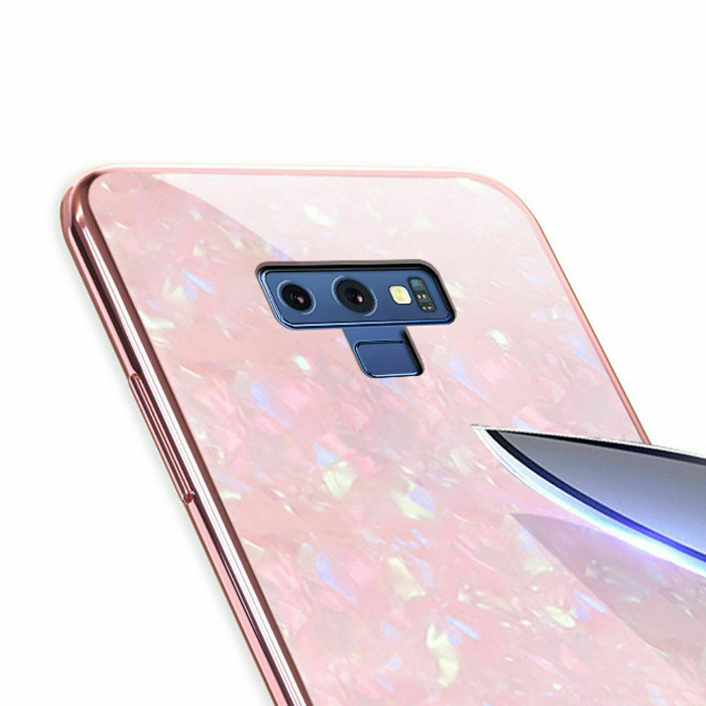 For Samsung S9 Plus Case Luxury Tempered Glass Back Shockproof Cover-Pink