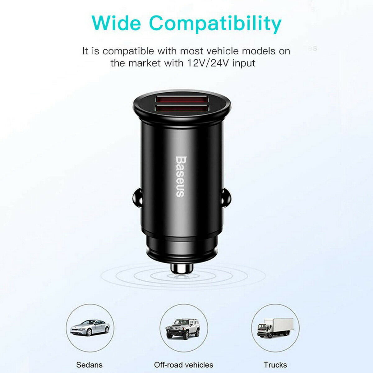 Ultra mini Baseus 3.1A Fast Charging Dual Ports USB Car Phone Charger Adapter