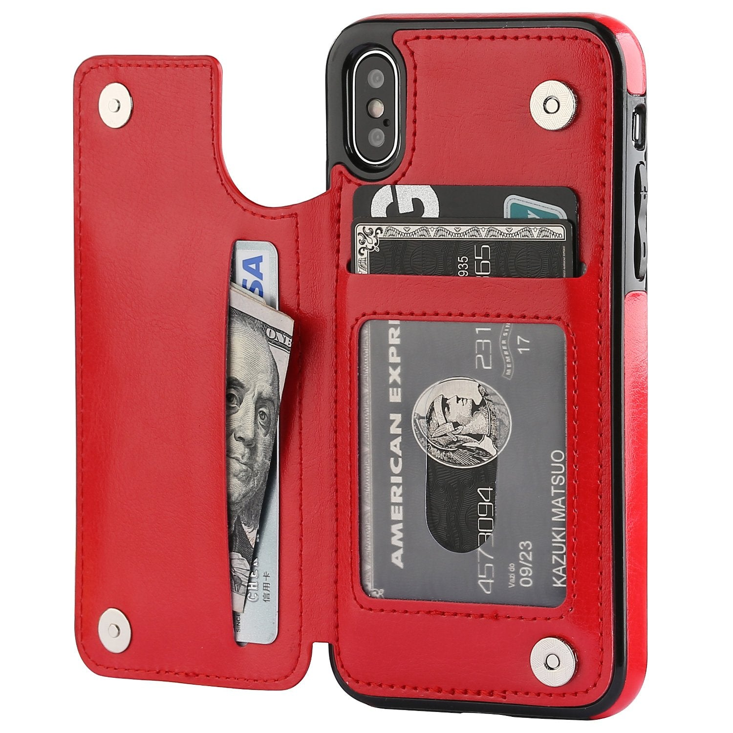 iPhone XS Leather Wallet Case Magnetic Flip Card Shockproof Cover