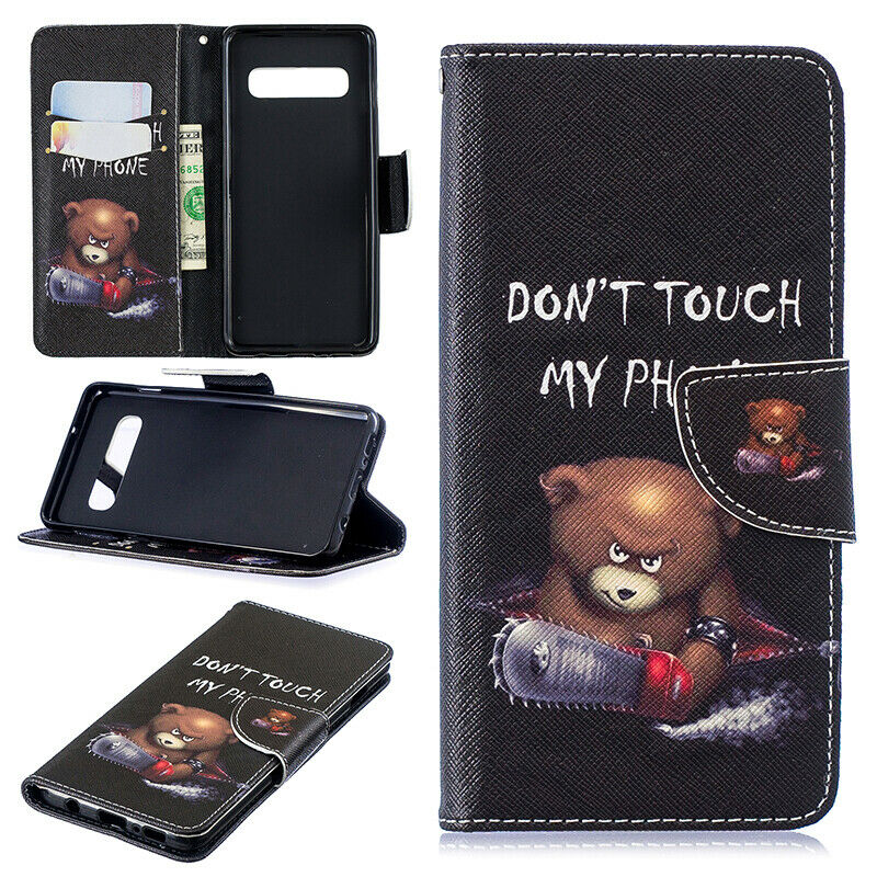 For Samsung Galaxy S10 Patterned Flip Leather Wallet Stand Case Cover-Bear Don't Touch