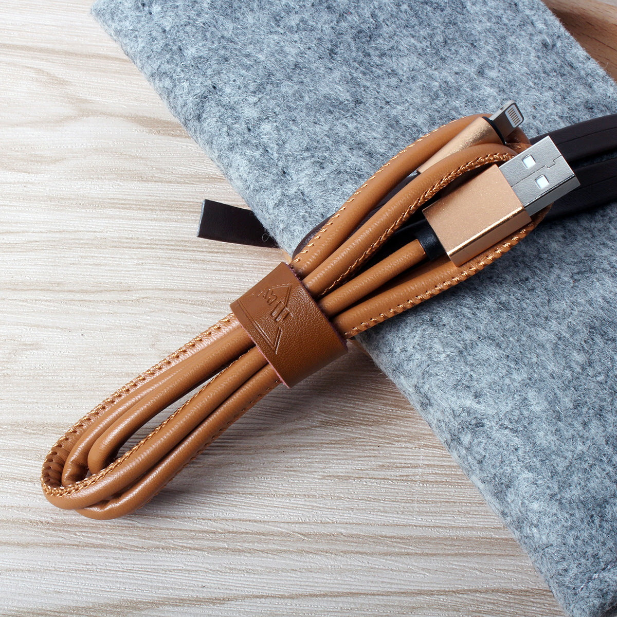Leather Lightning Type C USB-C to Male USB Data Cable Charger Adapter