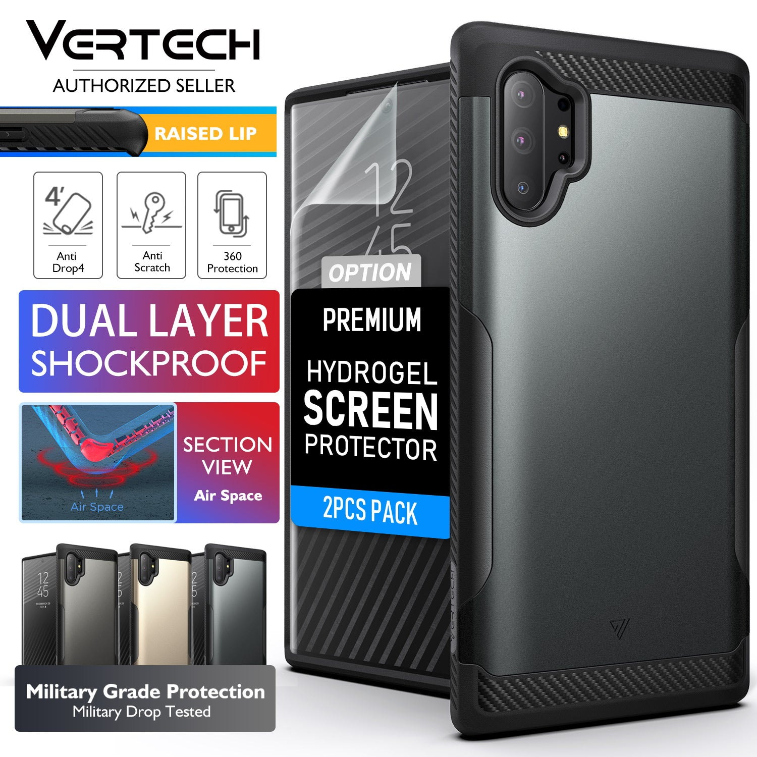 Galaxy Note 10 Plus Case VERTECH Heavy Duty Shockproof Cover for Samsung