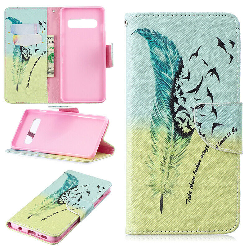 For Samsung Galaxy S10 Patterned Flip Leather Wallet Stand Case Cover-Feather