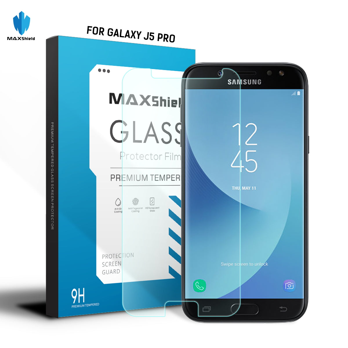 MAXSHIELD Tempered Glass Screen Protector For Samsung Galaxy J5 Pro 2017