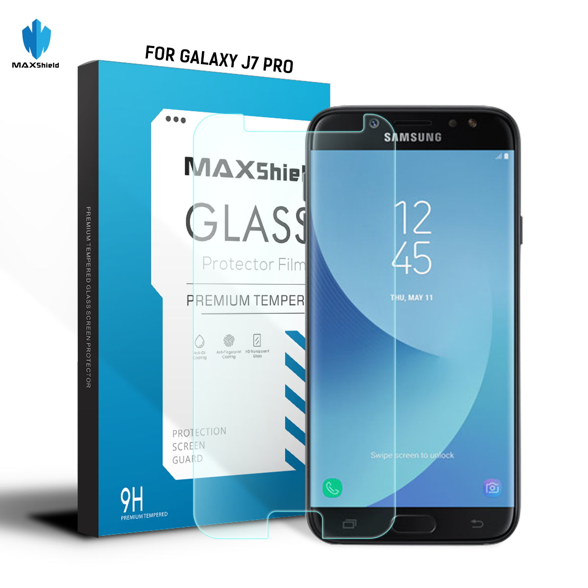MAXSHIELD Tempered Glass Screen Protector For Samsung Galaxy J7 Pro 2017