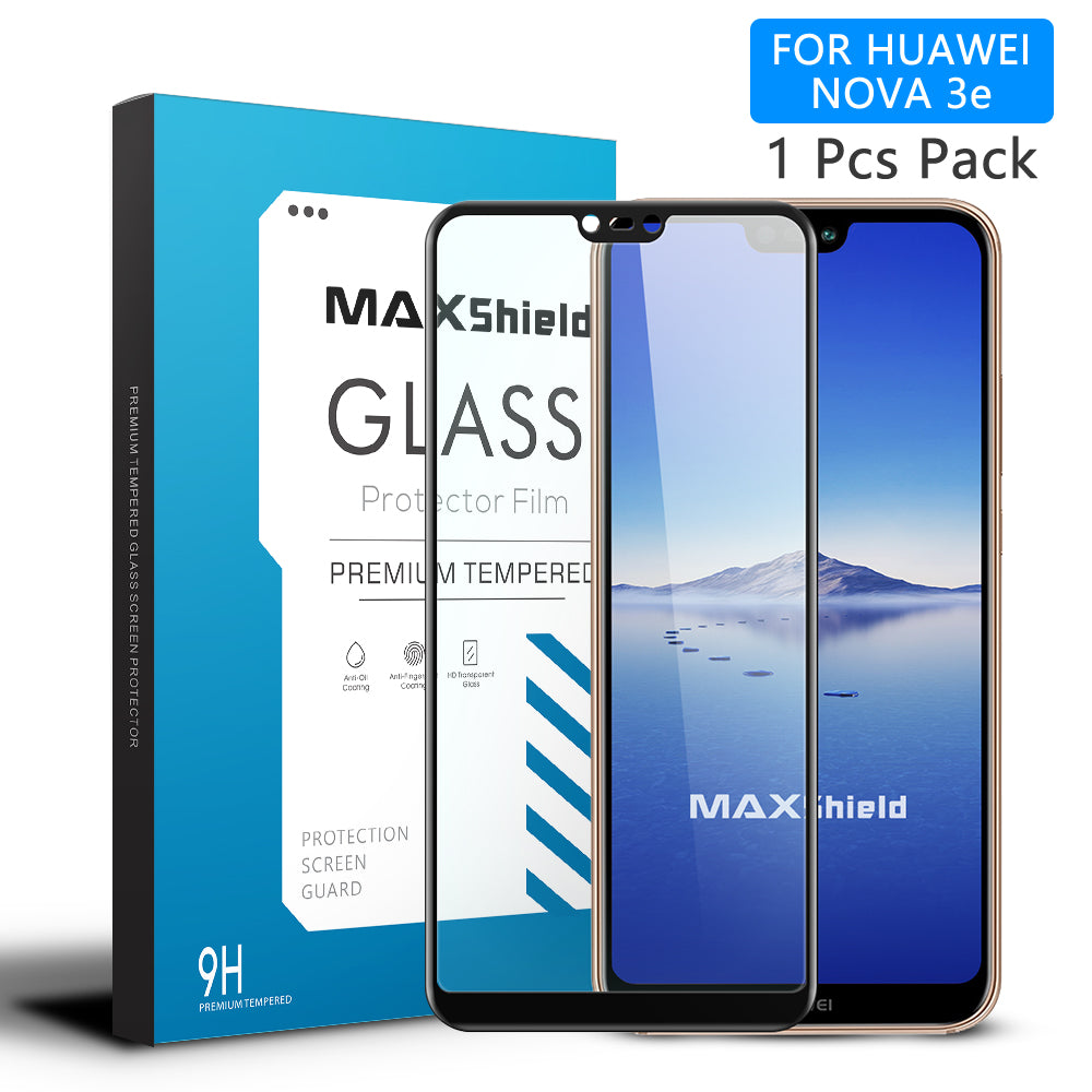 Huawei Nova 3e Screen Protector, Maxshield 3D FullCoverage Tempered Glass