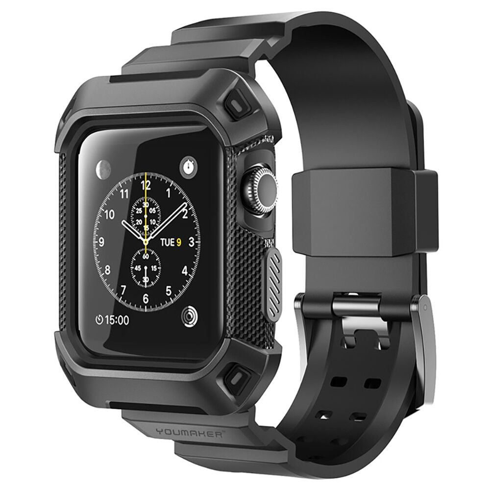 Genuine YOUMAKER HEAVY DUTY TOUGH ARMOR Case Cover FOR Apple Watch 1&2 Series (Black)