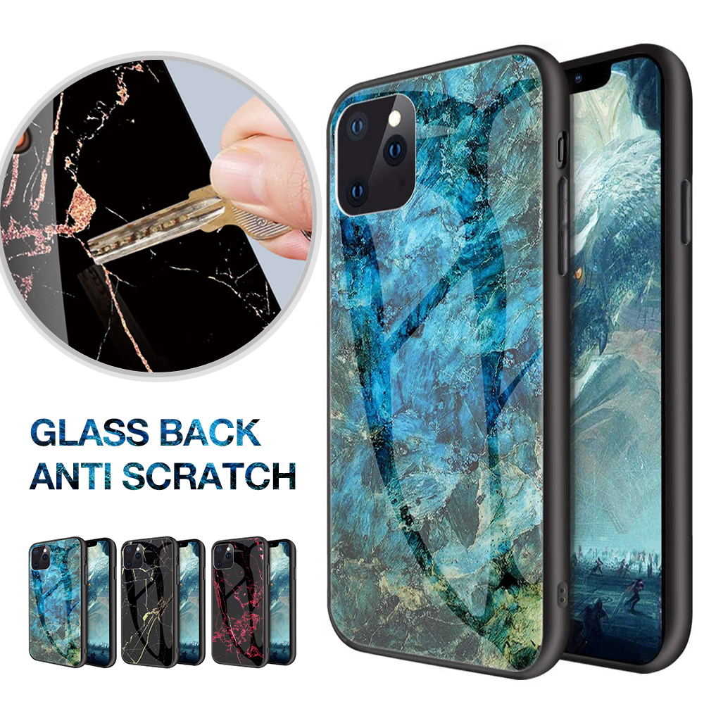For iPhone 12 Case Shockproof Glass Marble Soft Tough Cover-Black