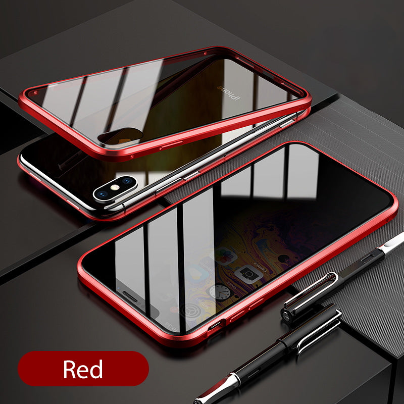 iPhone XR  Case Magnetic Metal Anti Spy Tempered Glass Cover