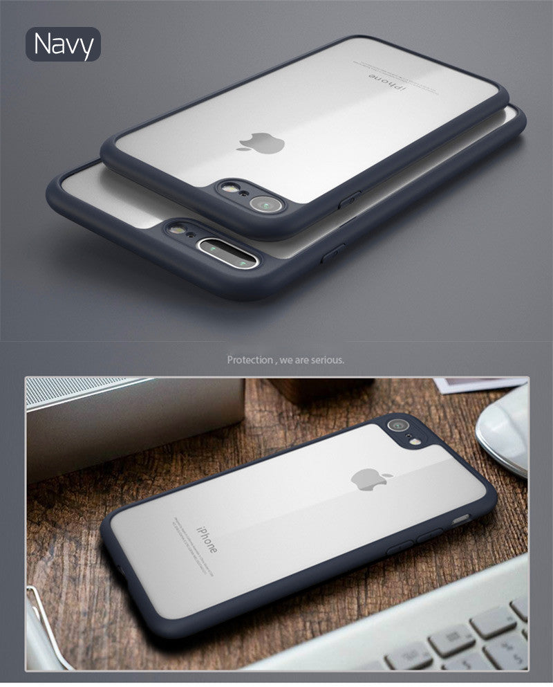 Shock-Absorption Bumper with Clear Back for iPhone 7/ 7 Plus