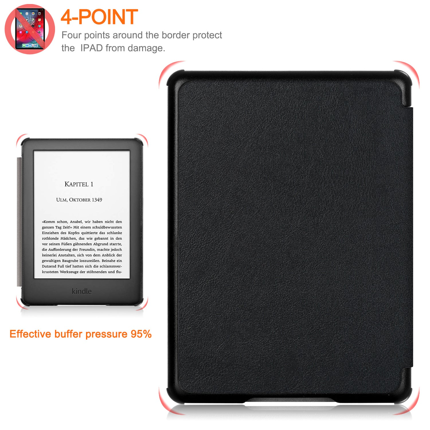 "Leather Smart e-Reader Cover Case For 6"" All-New Kindle 10th Gen 2019 Released"