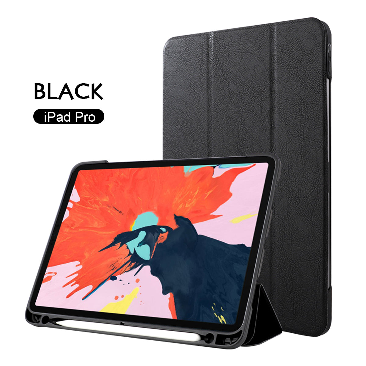 "iPad Pro 12.9"" 2018 Magnet PU Leather Smart Case Cover Sup Pencil Charging-Black"