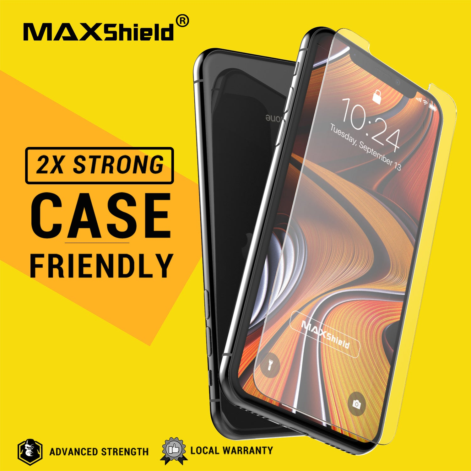 Apple iPhone XI 11 Pro Max Case, GLASS SCREEN PROTECTOR, MAXSHIELD PROTECTOR