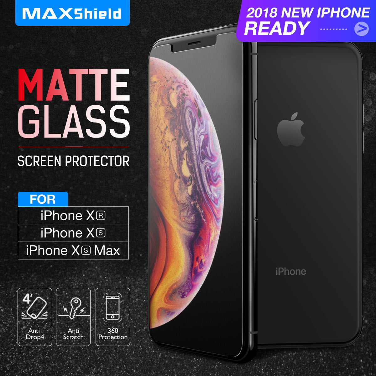 MAXSHIELD Matte Tempered Glass Screen Protector For Apple iPhone Xs Max