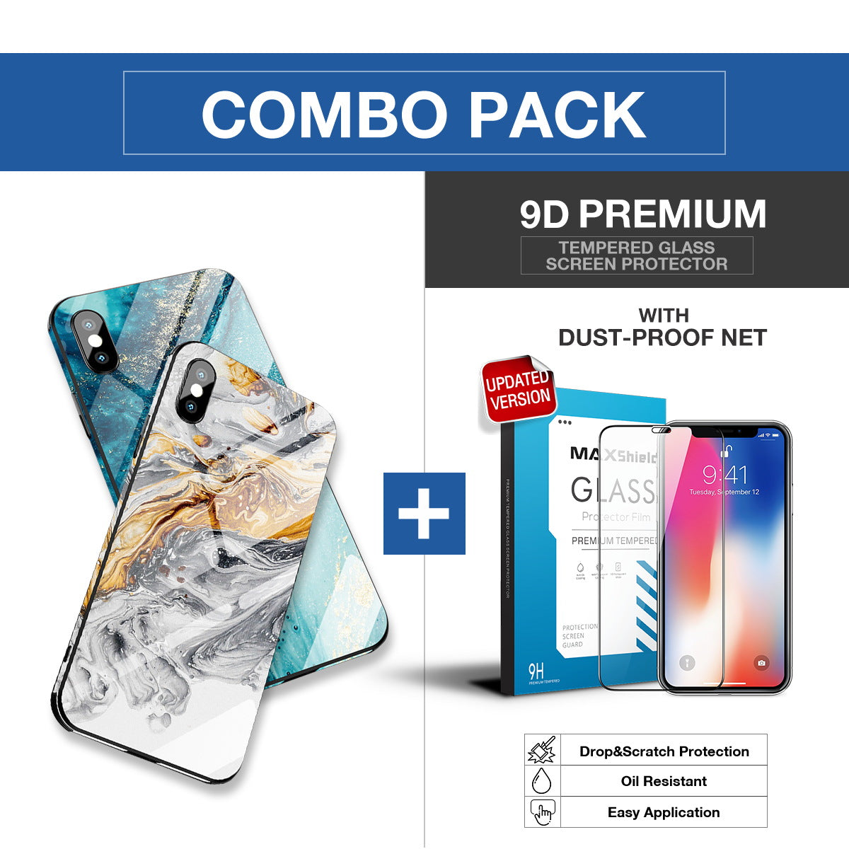 iPhone XS MAX Case Shockproof Tough Glass Marble Soft Cover for Apple