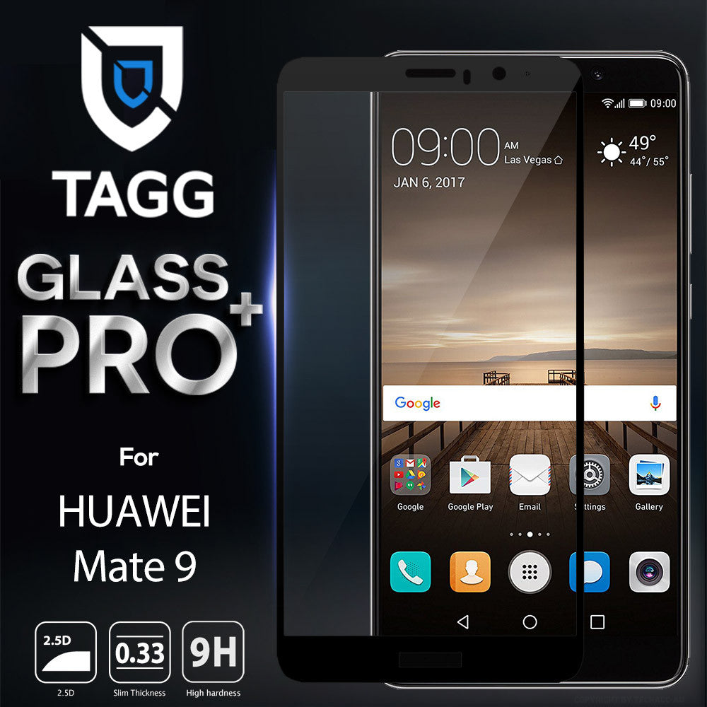 TAGG Tempered Glass 99% Clarity Ballistic Glass Scratch Proof Full Coverage Screen Protector with Maximum Touchscreen Accuracy Anti-Bubble Film for Huawei Mate 9, BLACK