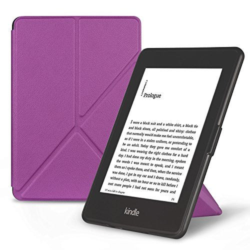 Origami Magnetic PU Leather Case Cover for Amazon Kindle Paperwhite - Purple