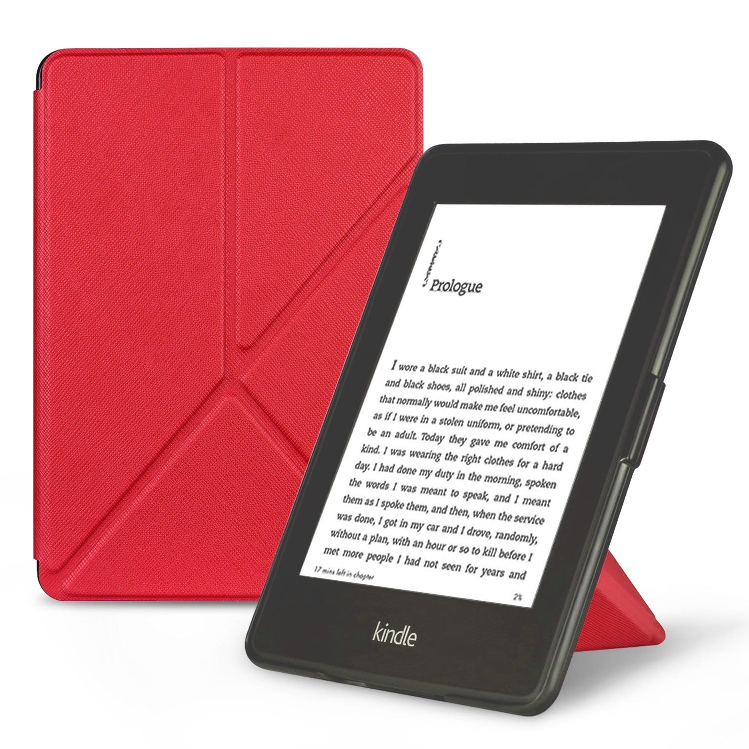 Origami Magnetic PU Leather Case Cover for Amazon Kindle Paperwhite 10th Generation-2018  -  Red
