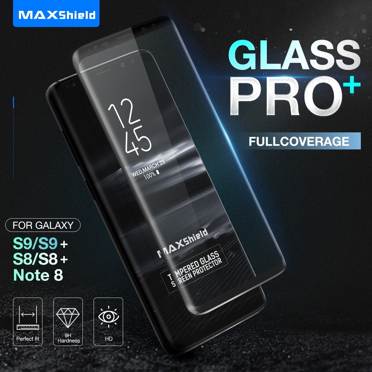 Galaxy S9 Plus MAX 3D Tempered Glass Full Coverage Screen Protector