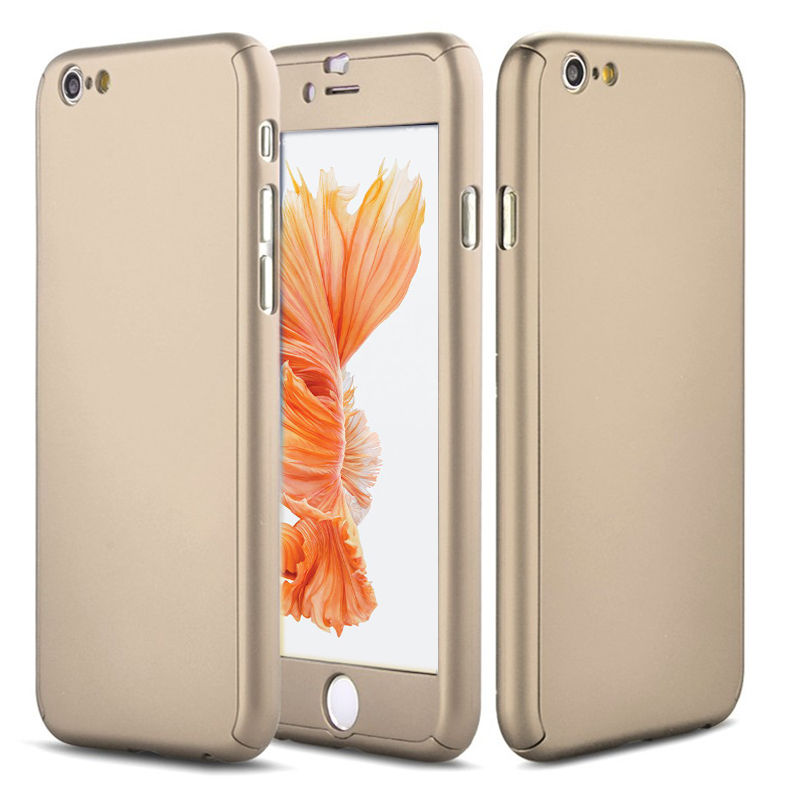 iPhone XR Plus Full Body Shockproof Case Cover + Tempered Glass-Gold
